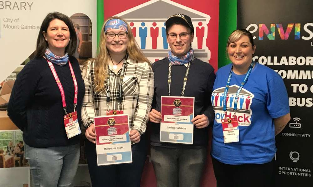 eNVIsion Limestone Coast Manager Callena Rawlings (left) with Spirit of GovHack awardees Mercedes Scott and Jordan Hutchins and Library Youth Services Coordinator Terasa Nearmy.