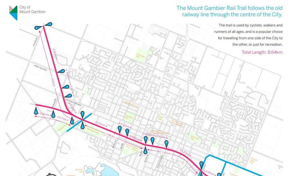Download a PDF of the map under Mount Gambier Rail Trail - distances (above)