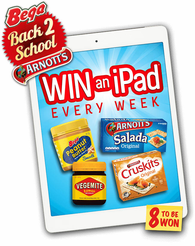 Bega and Arnott's Back 2 School - Win an iPad every week. 8 to be won!