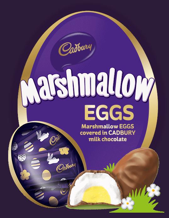 CADBURY Marshmallow EGGS - Marshmallow EGGS covered in CADBURY milk chocolate