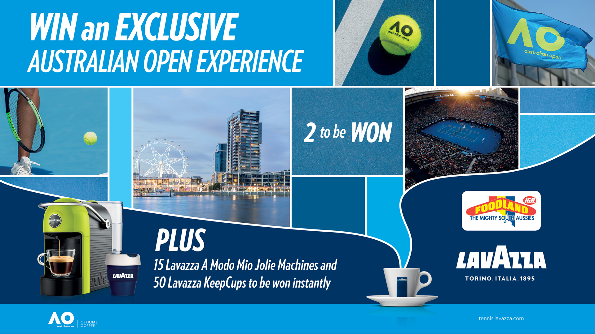 WIN an Australian Open Finals Experience! PLUS a Jolie and Milk Up A Modo Mio Coffee Machine to be won each week.