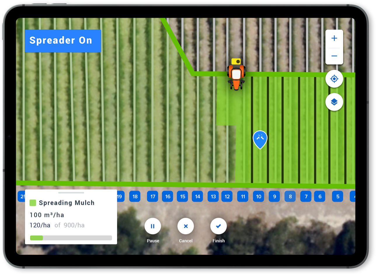 Platfarm agtech app interface image showing task pins and spray area
