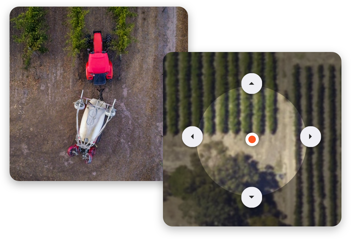 photo of tractor calibrating settings in vines