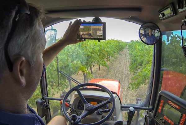 Platfarm in cab being used by Jock Harvey at Chalk Hill