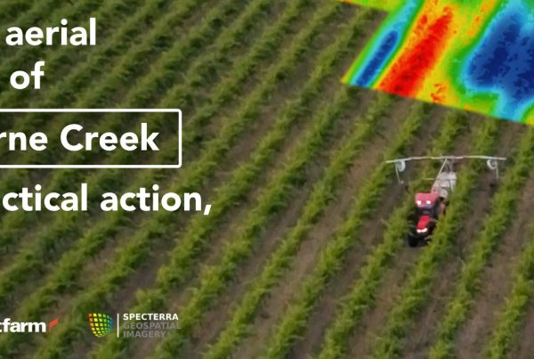 Text: Turning aerial insights of Langhorne Creek into practical action, simply