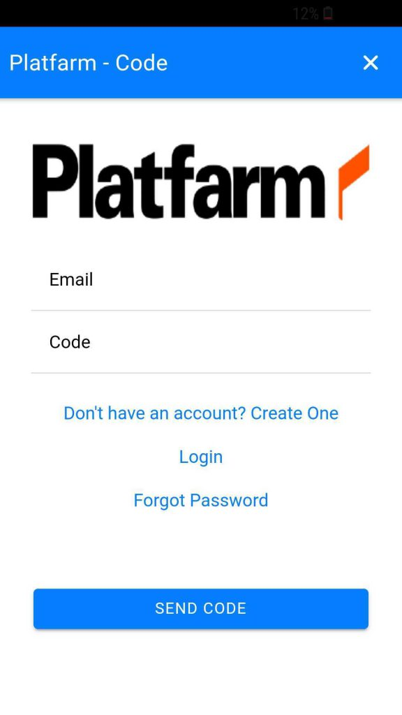 Screenshot of Platfarm login page showing a field for adding a code and submitting
