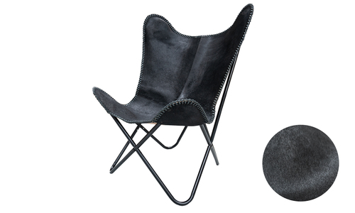 Black genuine leather butterfly chair   web1