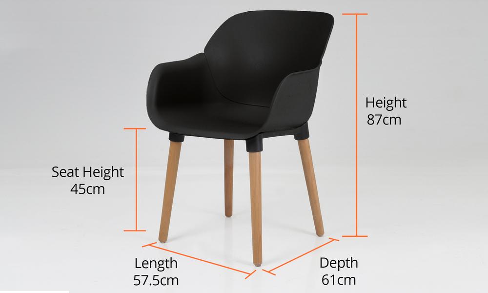 Dimensions harrison plastic tub chair black 2700   web5