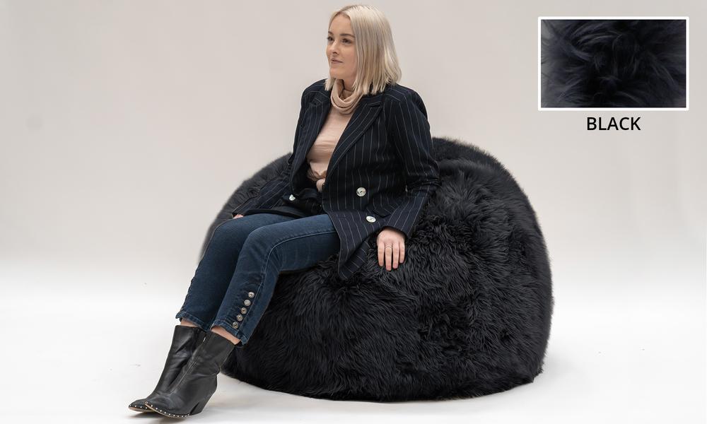 Black genuine sheepskin beanbag 1358   web1
