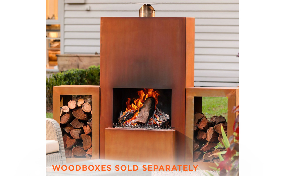 Pinacate corten terrace fireplace   web1