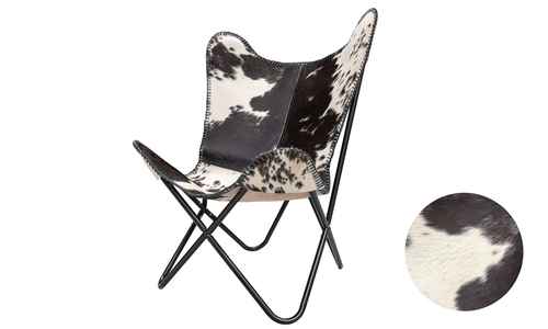 Cowprint genuine leather butterfly chair   web1 %281%29