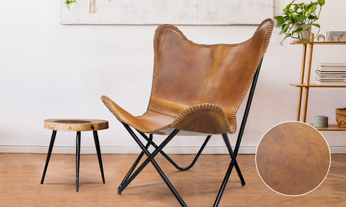 Tan lifestyle genuine leather butterfly chair   web %281%29