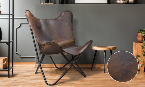 Chocolate lifestyle   genuine leather butterfly chair   web