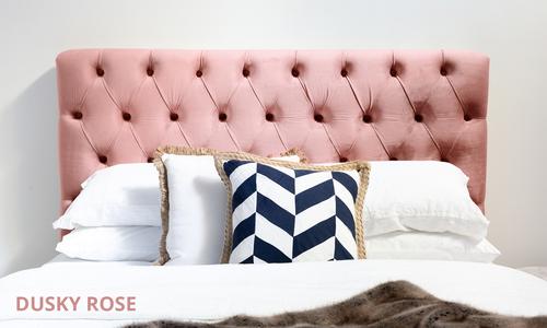 Dusky rose   kingston velvet tufted headboard   web1