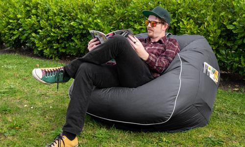 Charcoal   large round beanbag   web1