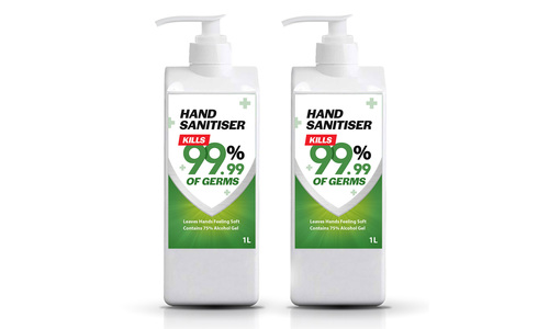 Hand sanitiser 1l   two bottles   web