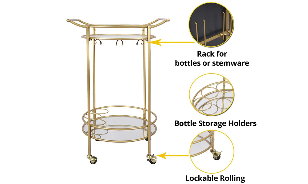 Bar cart with mirrored shelves 2923   web4