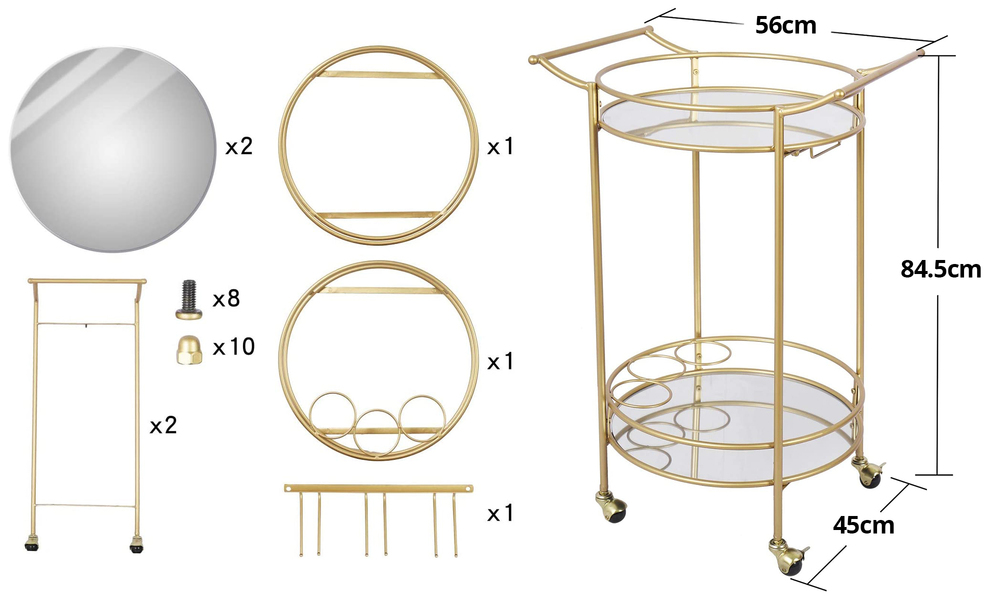 Bar cart with mirrored shelves 2923   web3