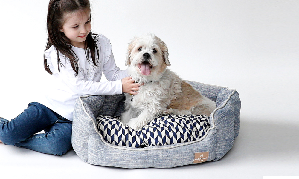 Modern pets luxury chevron dog bed 2912   web1