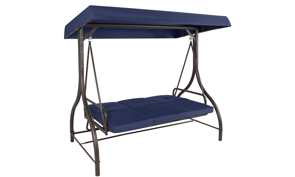Navy 3 seater swing chair to bed 2951    web2
