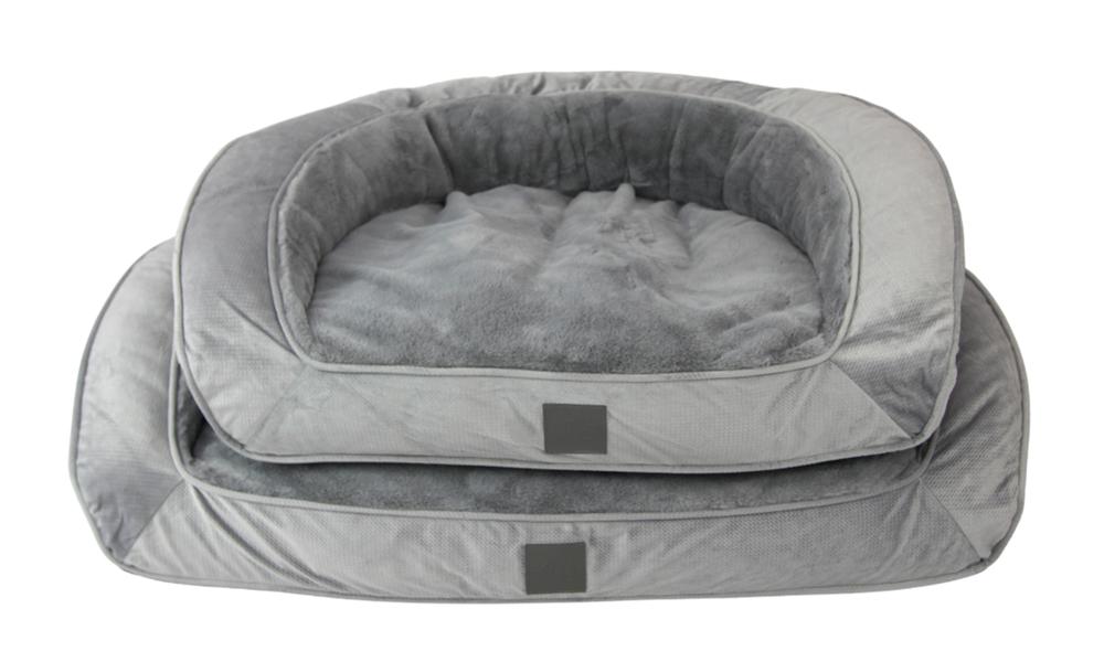 Portsea grey plush dog bed 2971   web5