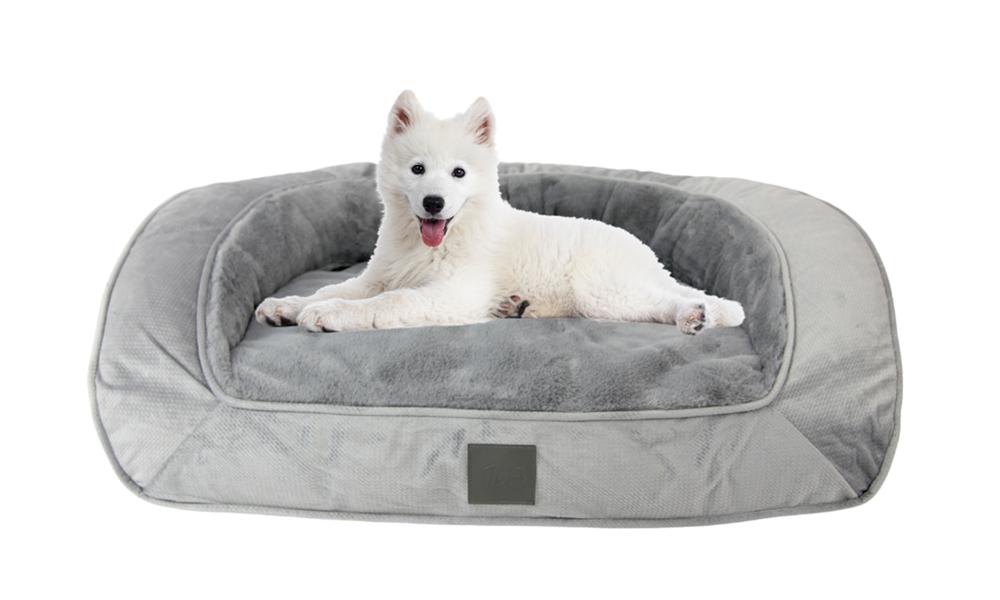 Portsea grey plush dog bed 2971   web1