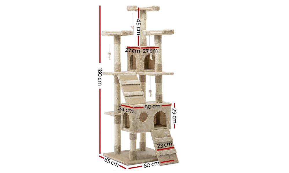 Cat condo 180cm scatching post beige 2980   web3