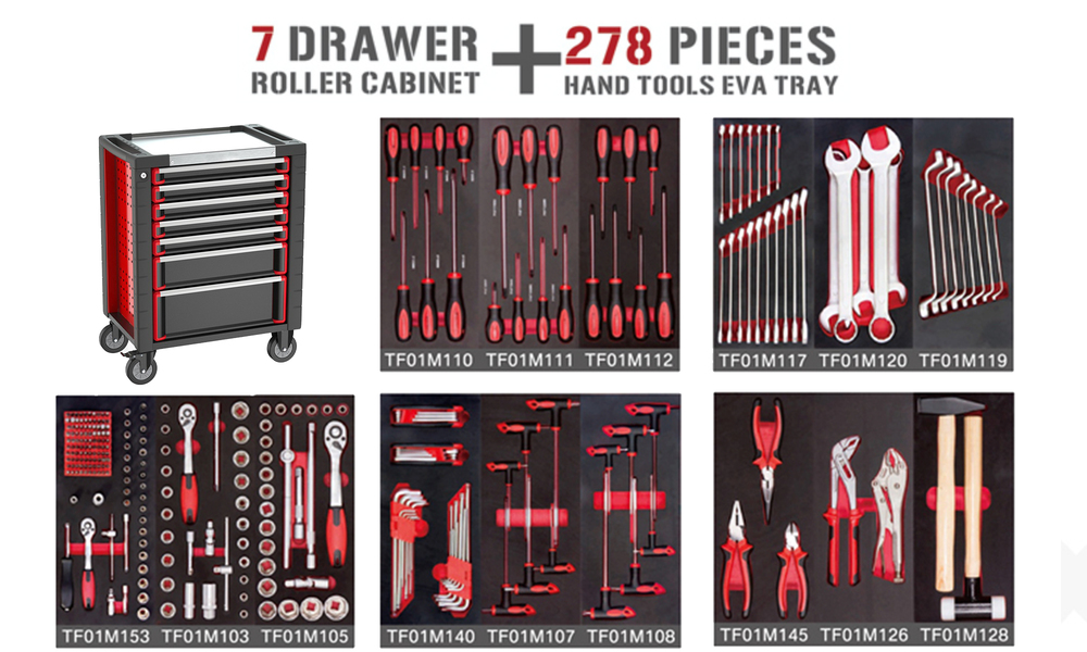7 drawer tool trolley with 278 pcs tool set 2994   web6