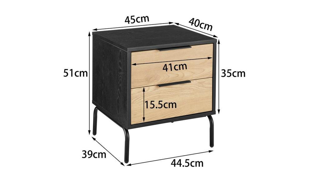 Nala modern bedside table   2 drawer 3023   web2