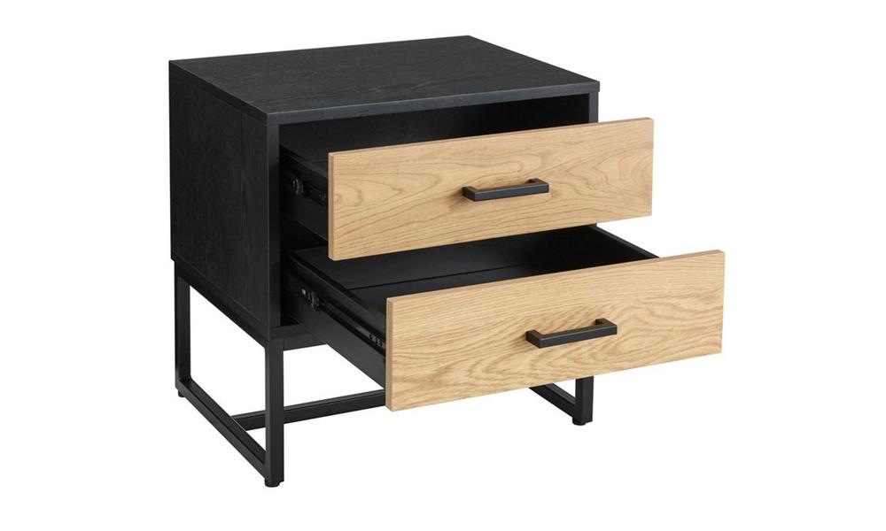 Nordic oak 2 drawer bedside table 3025   web3
