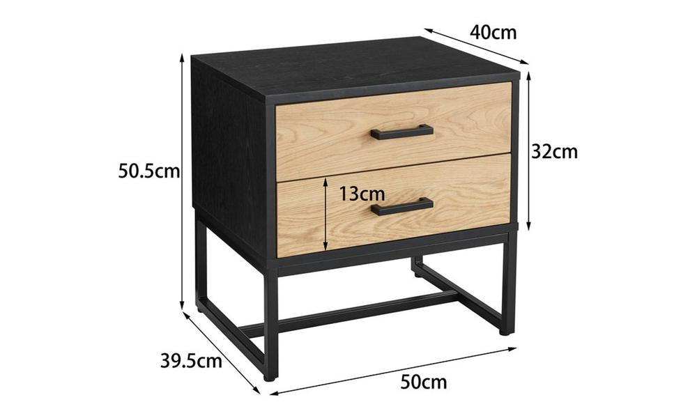 Nordic oak 2 drawer bedside table 3025   web2