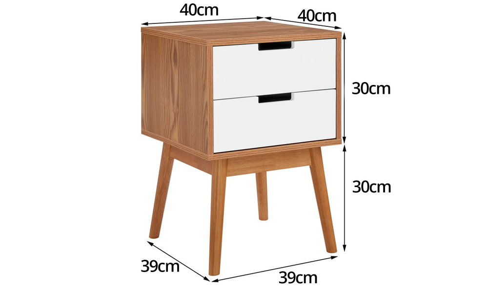 Norway two drawer bedside table 3026   web2
