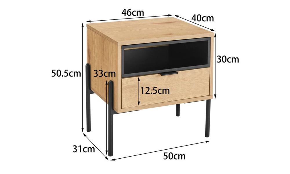 Oslo oak single drawer modern bedside table 3028   web2