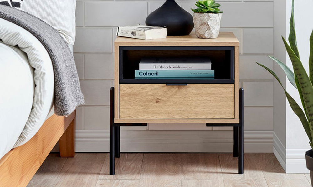 Oslo oak single drawer modern bedside table 3028   web1