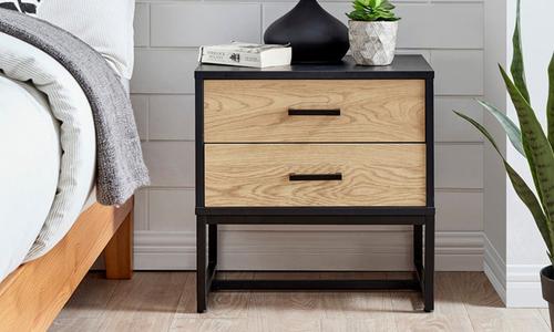 Nordic oak 2 drawer bedside table 3025   web1