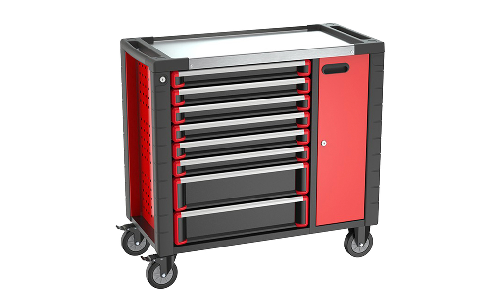 8 drawer tool trolley with extra cabinet 3034   web1