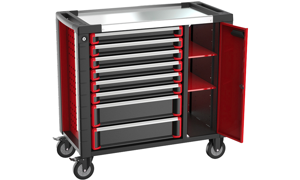 8 drawer tool trolley with extra cabinet 3034   web2