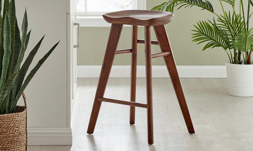 Walnut saddle tractor kitchen bar stool   web1