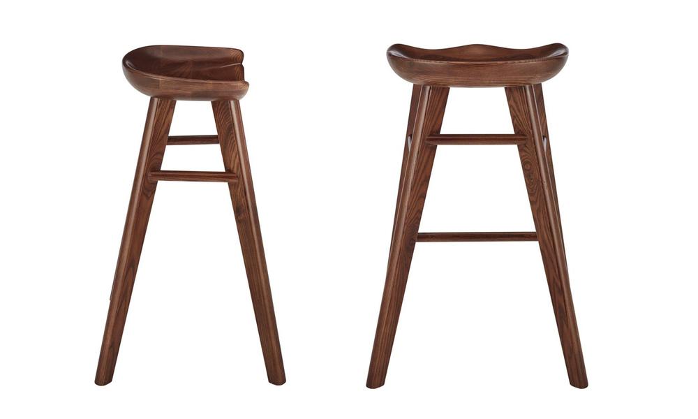 Walnut saddle tractor kitchen bar stool   web2