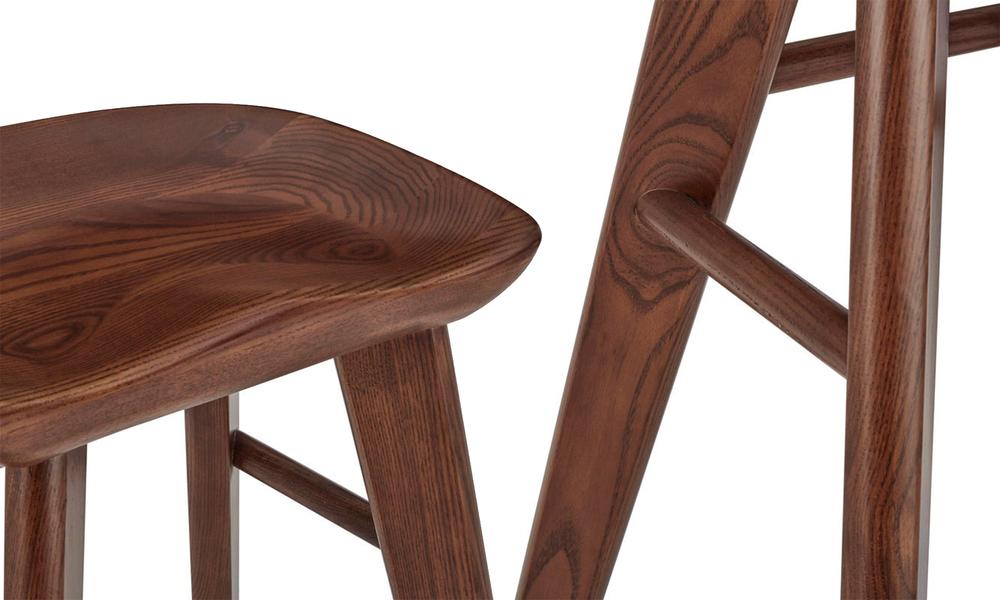 Walnut saddle tractor kitchen bar stool   web3