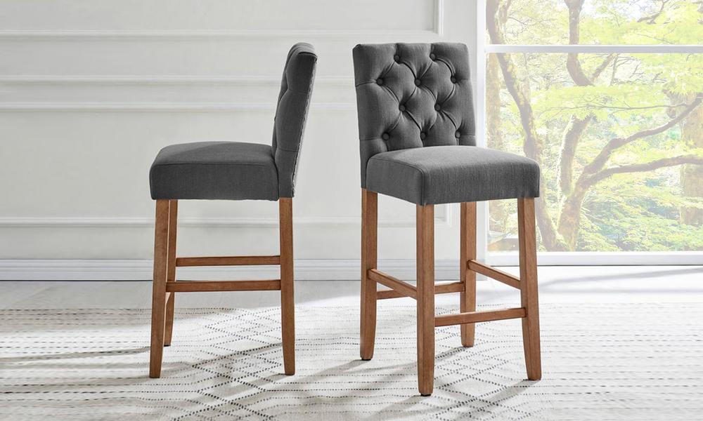 Grey belle provincial linen upholstered barstools 3040   web1
