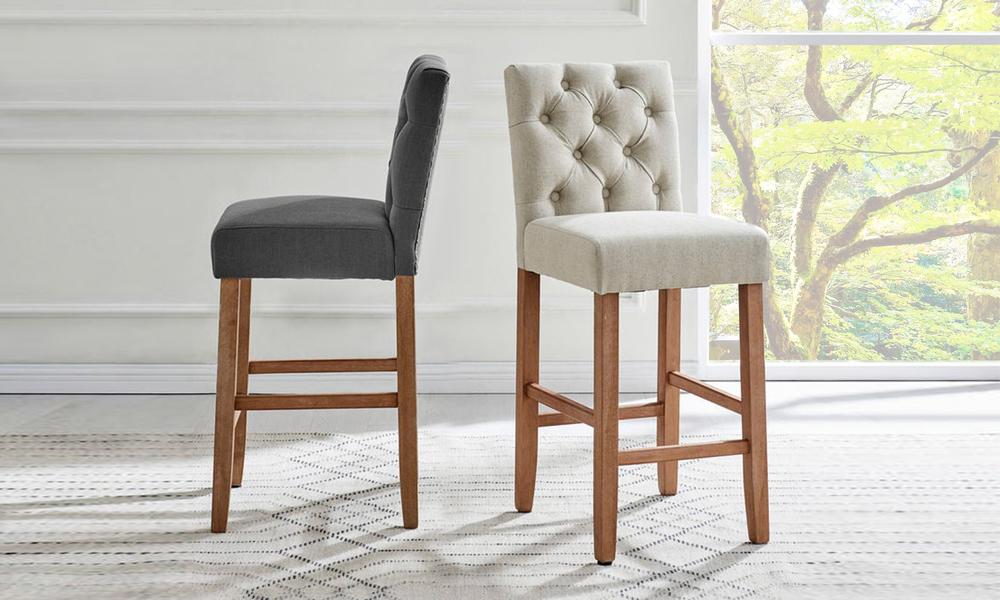 Belle provincial linen upholstered barstools 3040   web1