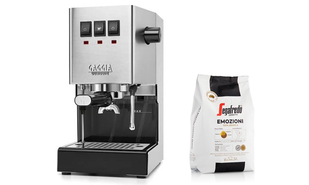 Stainless gaggia classic coffee machine   arabica beans 3030   web1