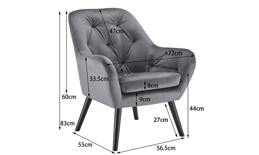Grey dukeliving st. barts tufted velvet armchair 3097   web3