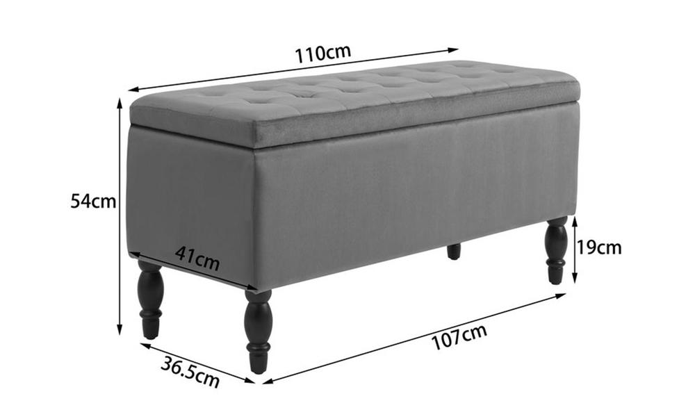 Dukeliving watson velvet luxe bed bench storage ottoman grey 3731331 07