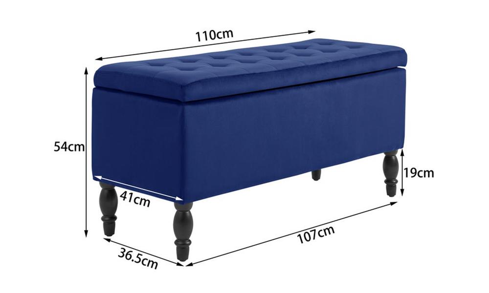 Dukeliving watson velvet luxe bed bench storage ottoman blue 3731330 07