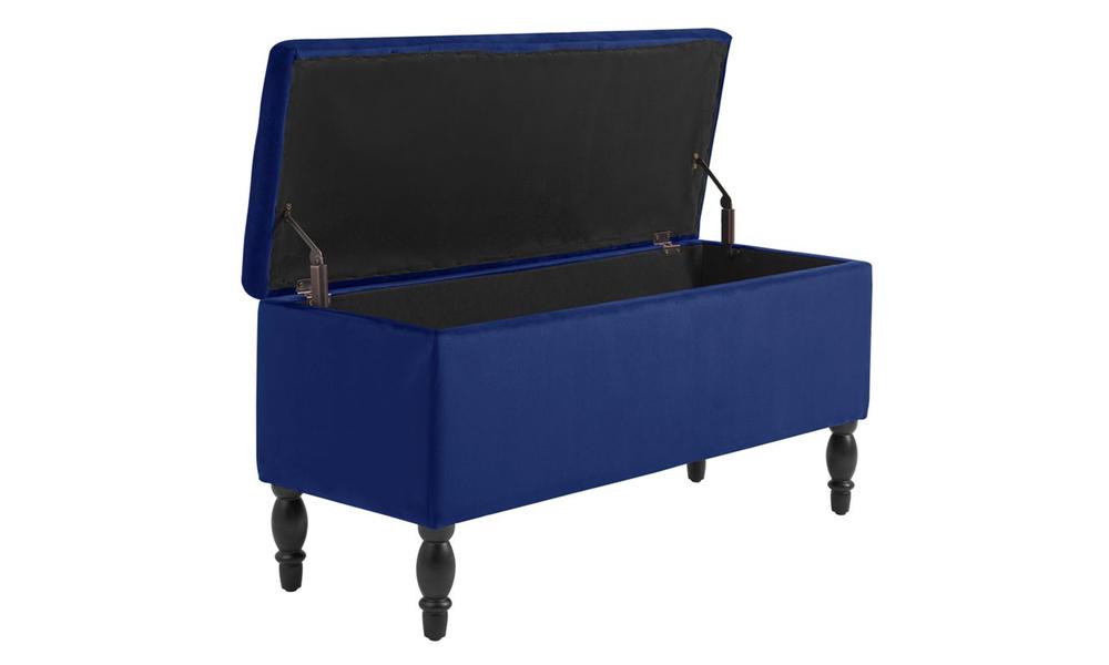 Dukeliving watson velvet luxe bed bench storage ottoman blue 3731330 06
