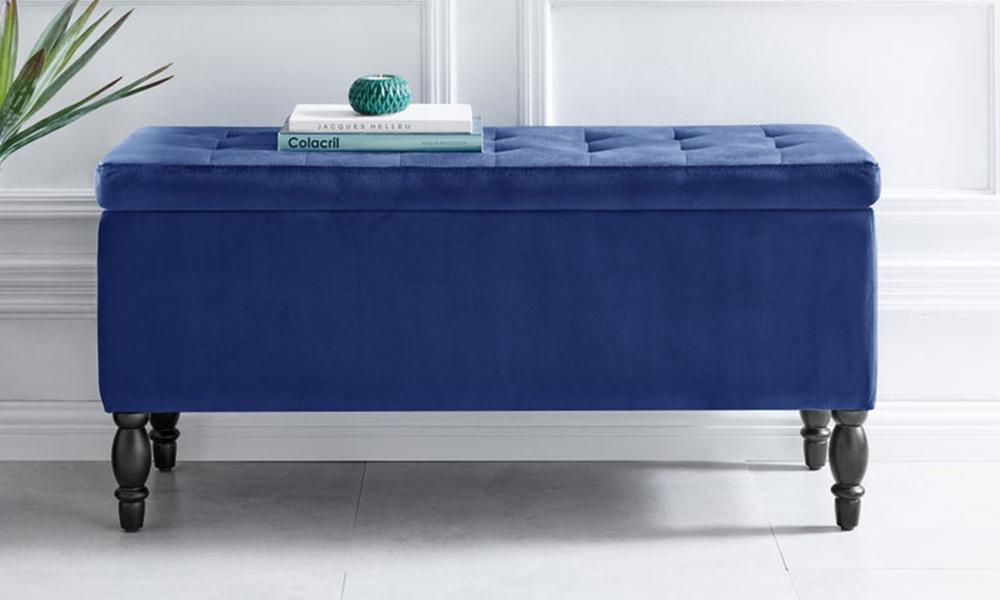 Dukeliving watson velvet luxe bed bench storage ottoman blue 3731330 03