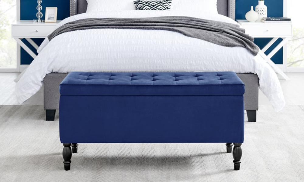 Dukeliving watson velvet luxe bed bench storage ottoman blue 3731330 01
