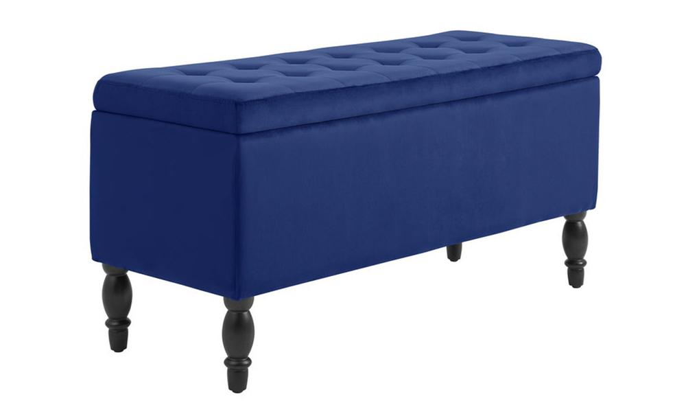 Dukeliving watson velvet luxe bed bench storage ottoman blue 3731330 00 %281%29